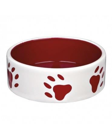 Comedero bowl huellas rojas ceramica