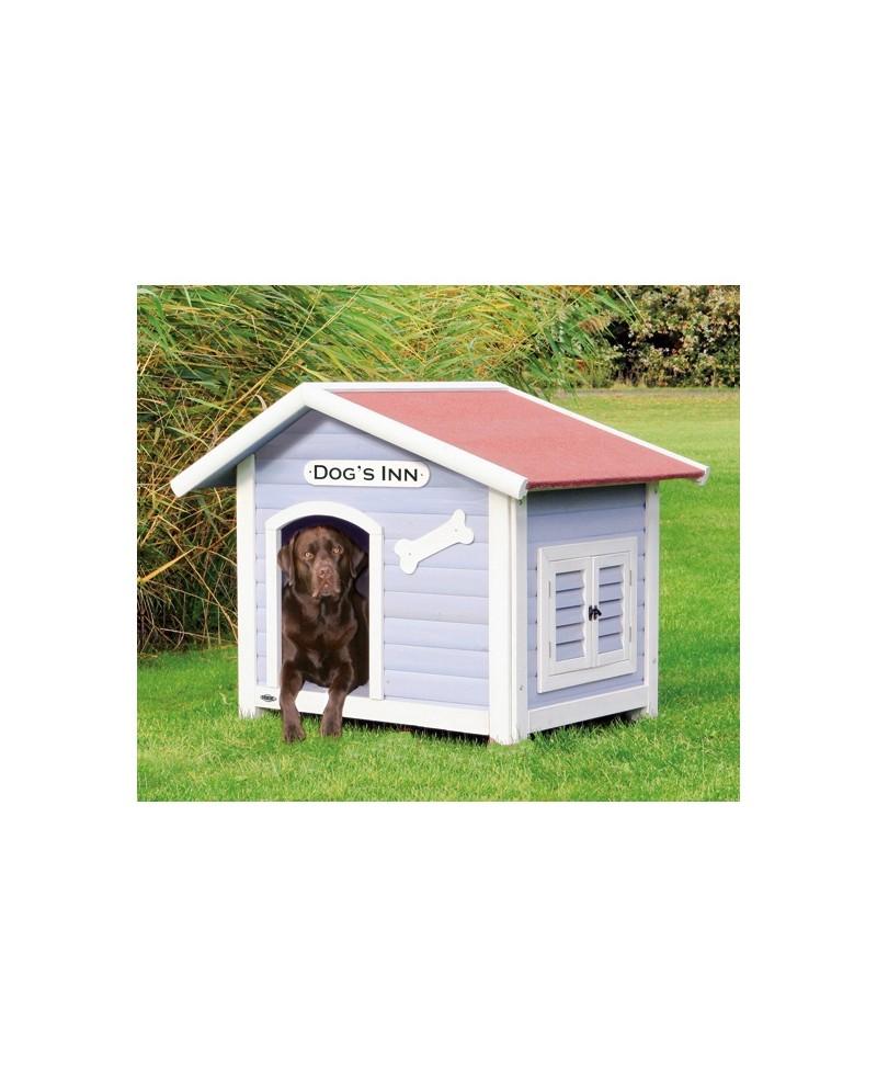 Caseta de madera natura con porche mascotaland for Casetas de jardin con porche
