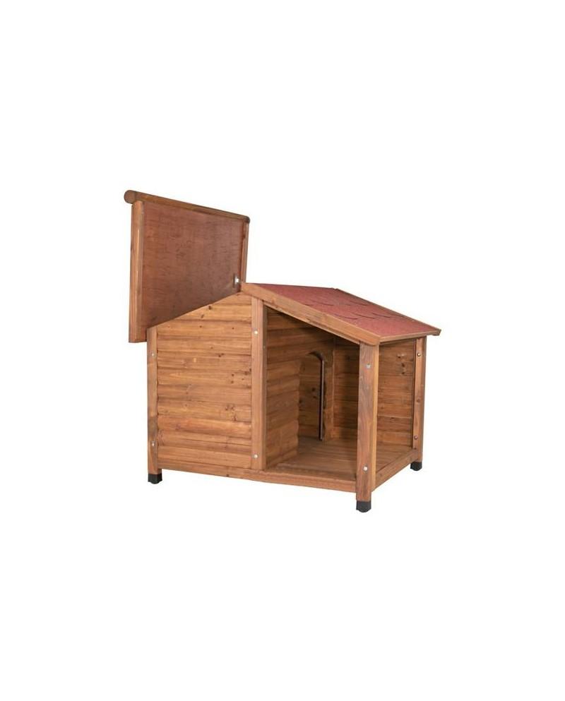 caseta de madera natura con terraza mascotaland