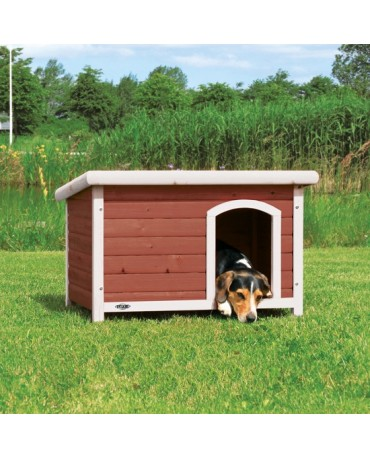 Caseta de madera Natura roja y blanca perros y gatos