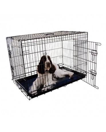 jaula metalica plegable perros bandeja ABS