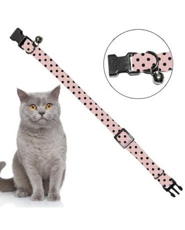 Collar nylon elastico topos rosa para gatos