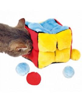 Cubo de peluche con pelotas catnip